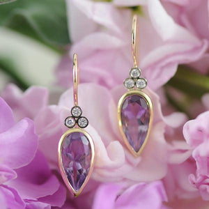 Amesthyst and Diamond Earrings in Yellow and White Gold