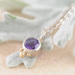 Amethyst Sterling Silver Bezel Pendant with 9k Yellow Gold detail