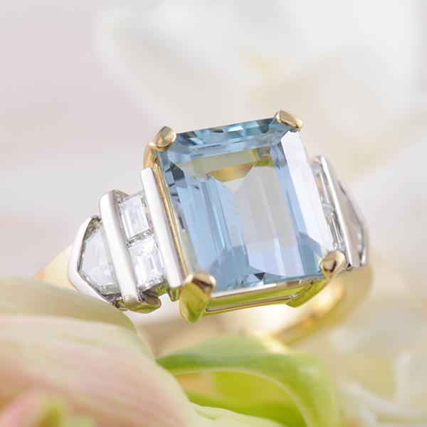 Aquamarine Emerald Cut and Diamond Ring