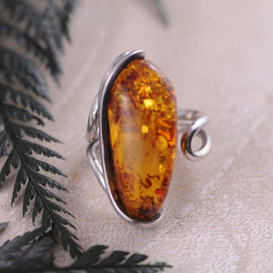 Brown Amber Adjustable Sterling Silver Ring with swirl edging