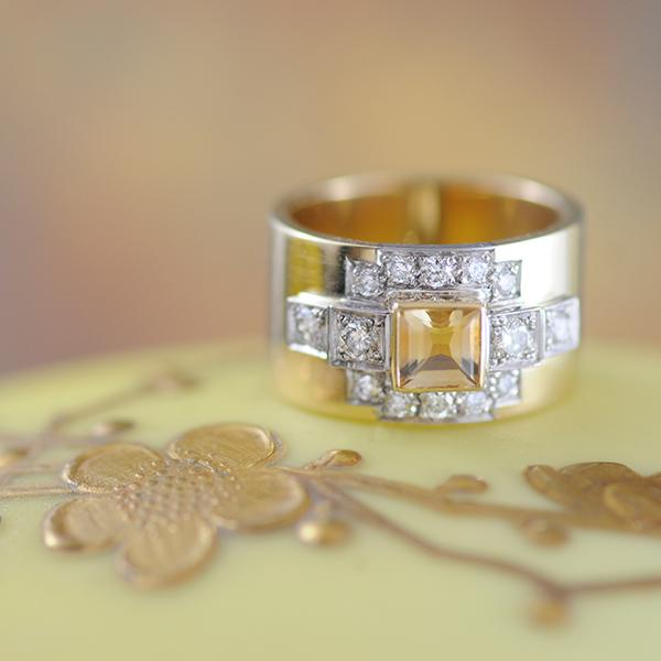 Citrine Princess Cut and Diamond Wide Band Ring in Yellow Gold