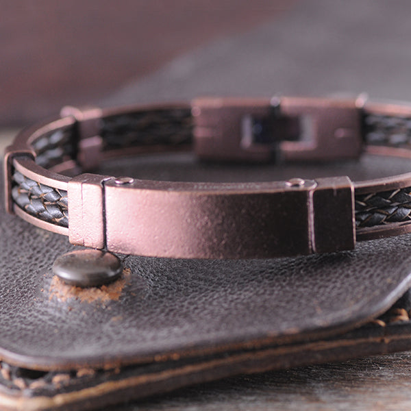 Copper & Brown Leather Bracelet