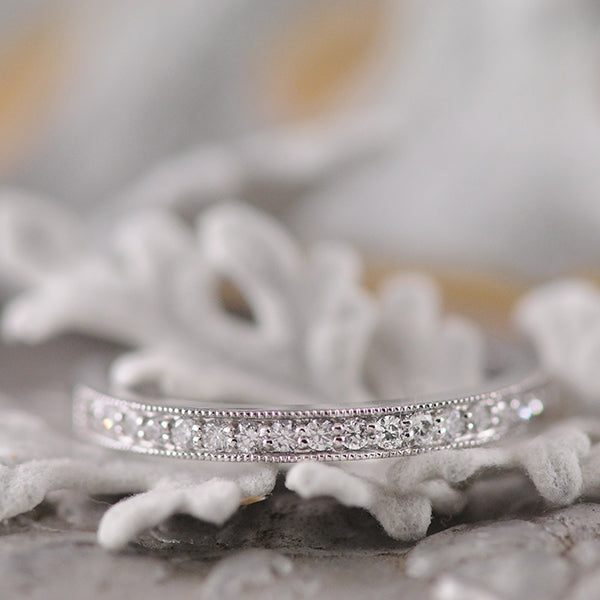 Wedding/Eternity Ring with Grain Set Diamonds with Milgrain Edging in 18ct White Gold