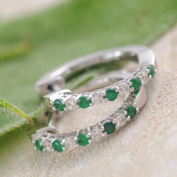 Emerald & Diamond Huggie Earring in 9k White Gold