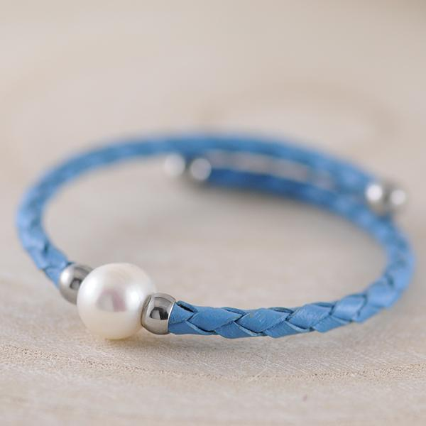 Fresh Water Pearl Blue Leather Bracelet with Stainless Steel