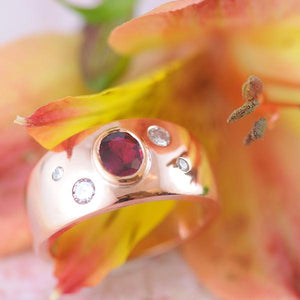 Garnet Bezel Set Wide Band Ring