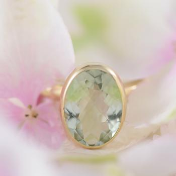 Green Amethyst Oval Bezel Ring in 9ct Yellow Gold