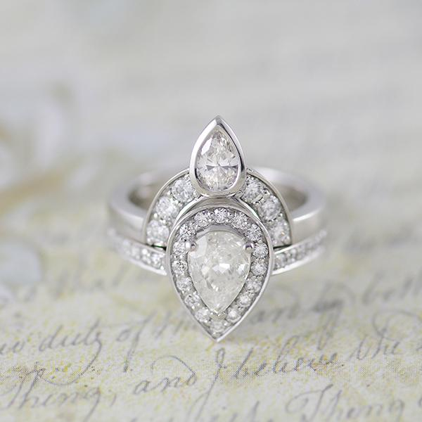Pear Diamond Engagement Ring and Fitted Wedding Band in White Gold