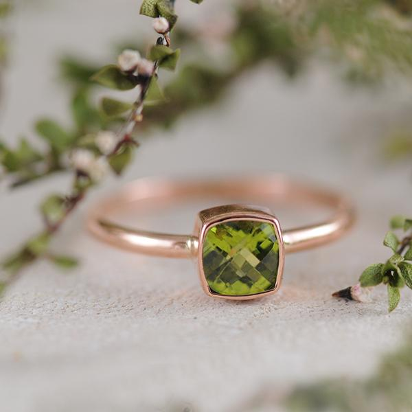 Peridot Cushion Cut Ring Bezel Set in 9k Rose Gold