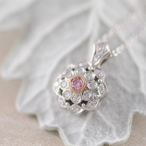 Pink and White Diamond Cluster Pendant in White and Rose Gold