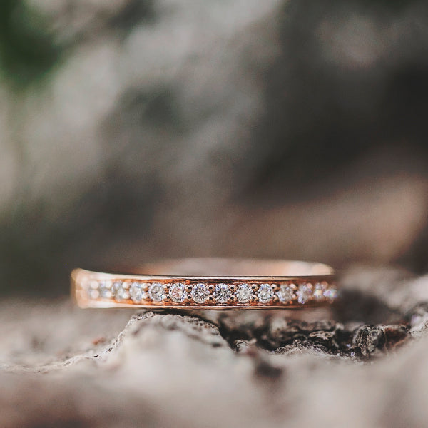 Diamond Wedding Ring set in 18ct Rose Gold