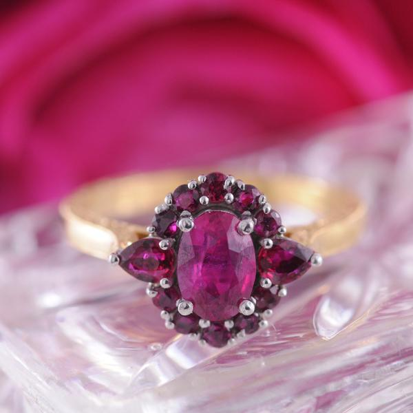 Ruby Ring set in 18k Yellow & White Gold