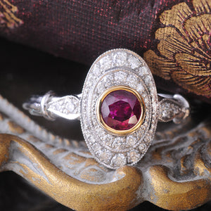 Ruby & Diamond Ring Bezel set in 18k White & Yellow Gold