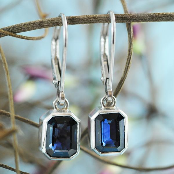 Sapphire Drop Earrings in White Gold