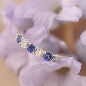 Sapphire and Diamond Ring Set in 18ct White Gold