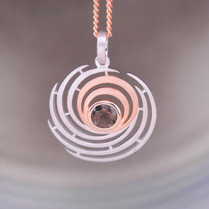 Smoky Quartz Swirl Pendant in Sterling Silver and Rose Gold Plating