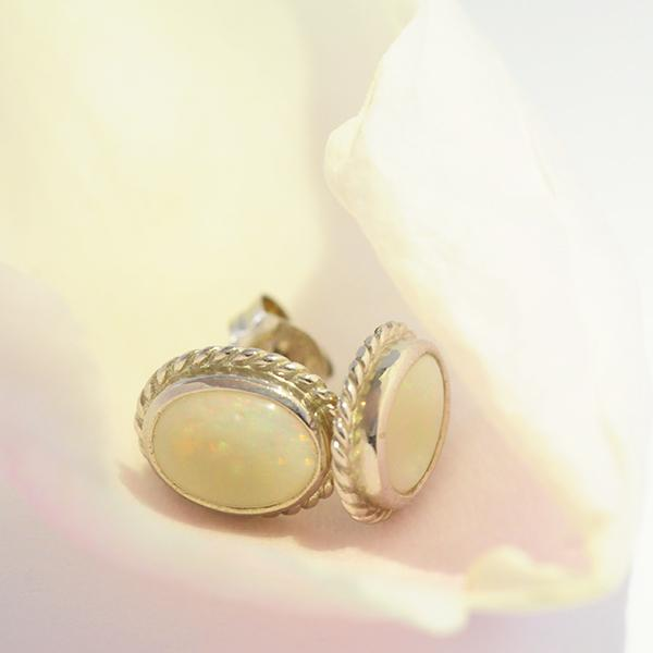 Solid Opal Oval Bezel Set Twist Stud Earrings in Sterling Silver