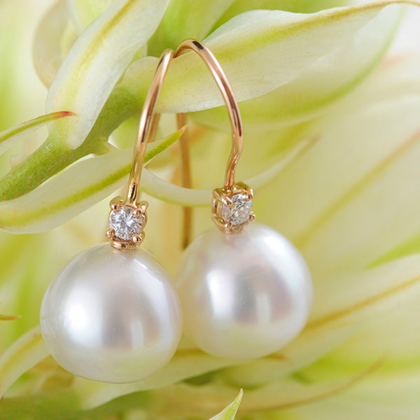 South Sea Pearl & Diamond Earrings set in 18k Rose Gold