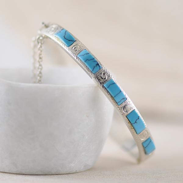 Sterling Silver Engraved Bangle with Turquoise & safety chain