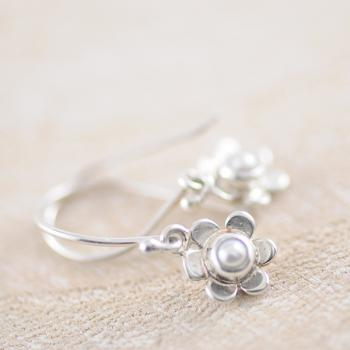 Sterling Silver Flower Earrings with Seed Pearl Center