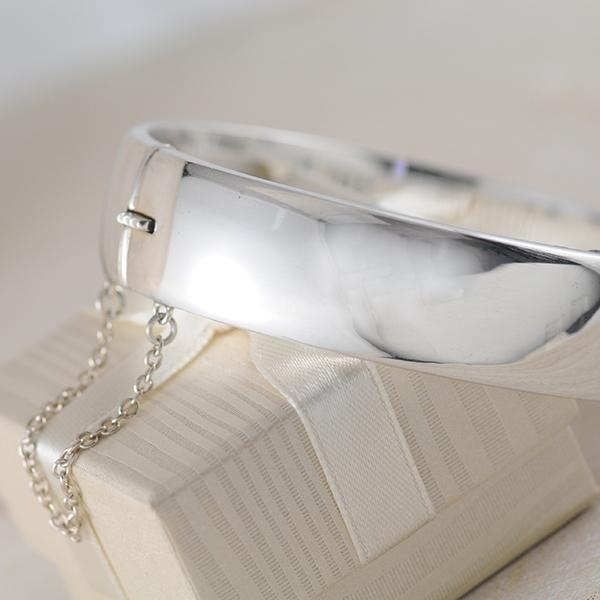 Sterling Silver Wide Hinged Bangle