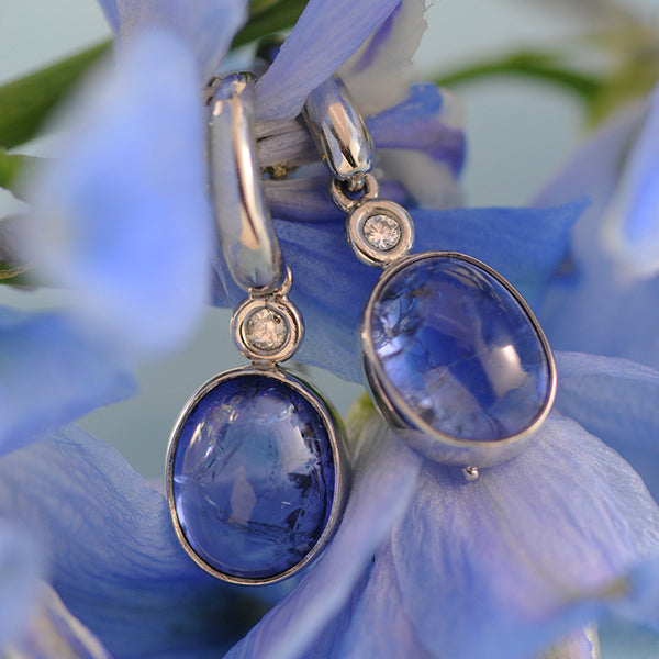 Tanzanite & Diamond Drop Earrings set in 18k White Gold