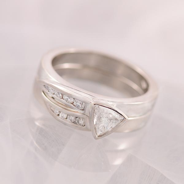 Trillion Diamond Engagement Ring and Wedding Band in Platinum