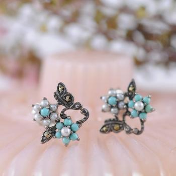 Turquoise, Seed Pearl and Marcasite Flower Stud Earrings in Sterling Silver