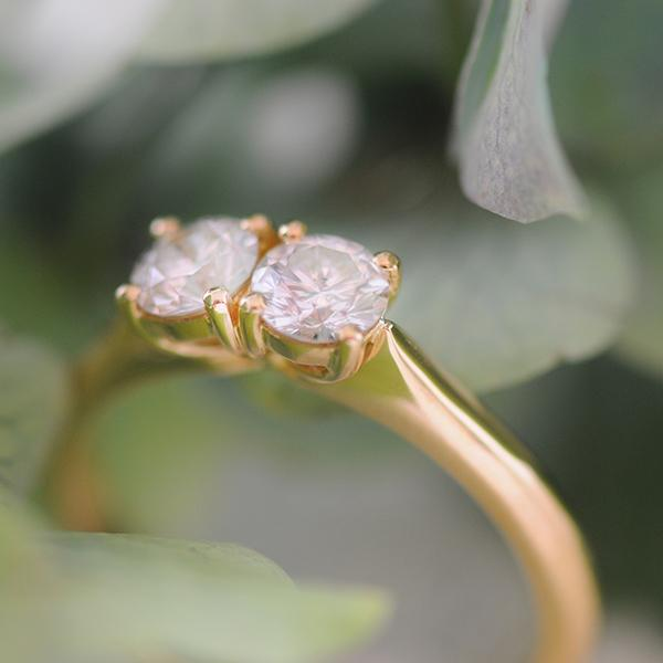 Two Diamond Yellow Gold Ring