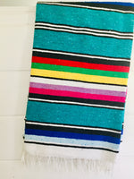Teal Tides Adventure Blanket l Mexican Blanket l Throw Blanket l Cotton