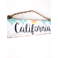 California Wood Sign -  Beach & Sunshine Design - Wood Sign