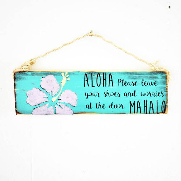 Aloha Please Remove Shoes Wood Sign -  Hawaiian Floral Design - Wood Sign