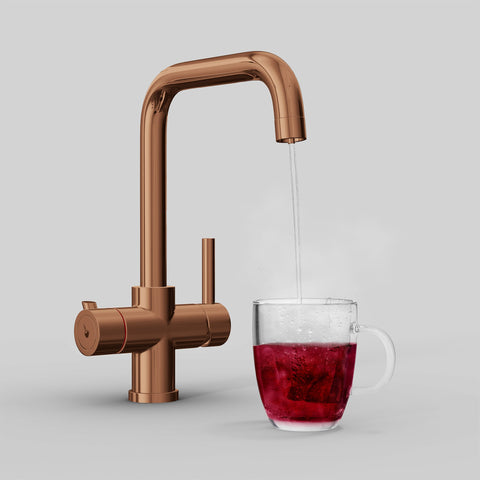 Fohen Fahrenheit Polished Bronze Boiling Water Tap with Red Cup