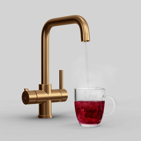 Fohen Fahrenheit Brushed Copper Boiling Water Tap with Red Cup