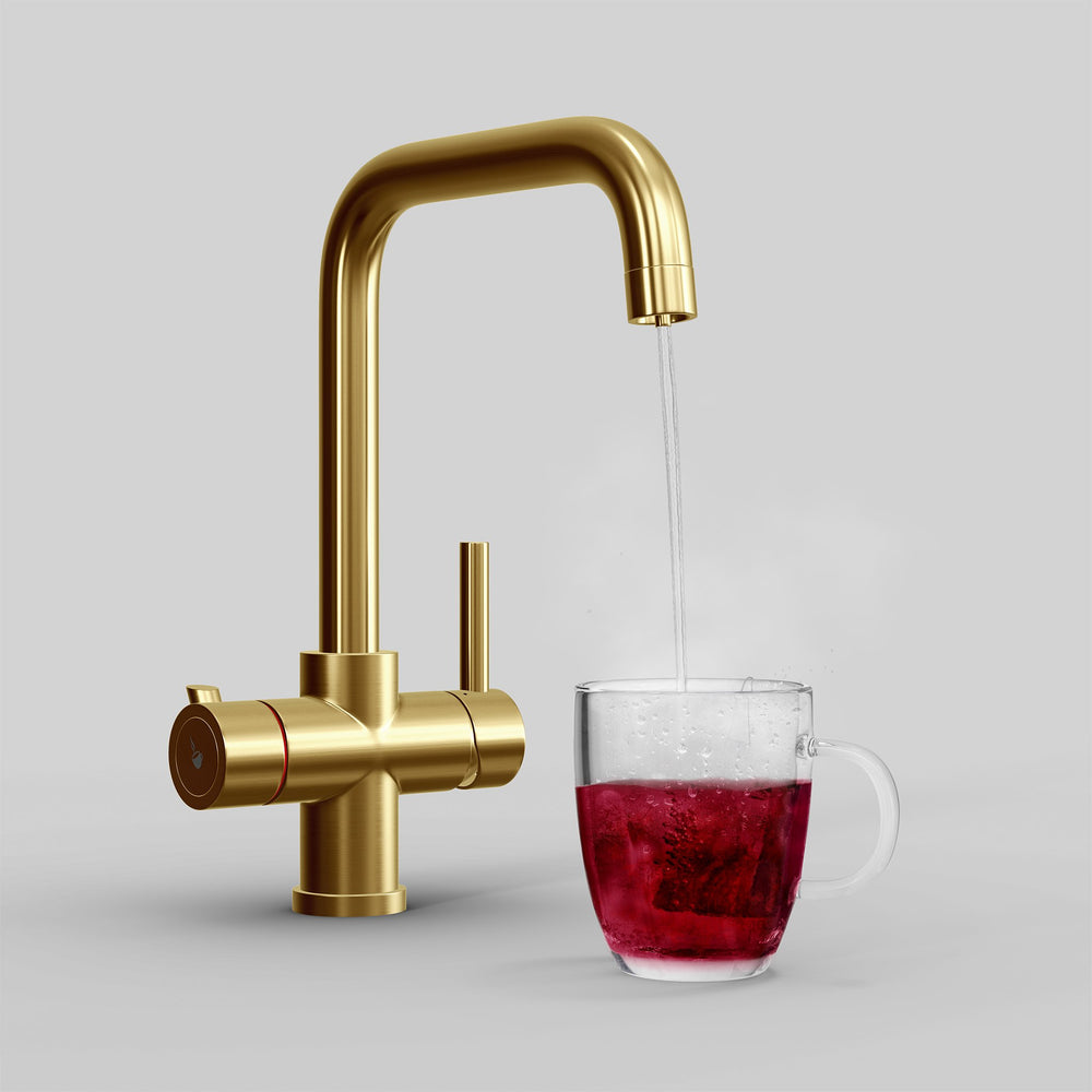 Fohen Fahrenheit Brushed Gold Boiling Water Tap with Red Cup