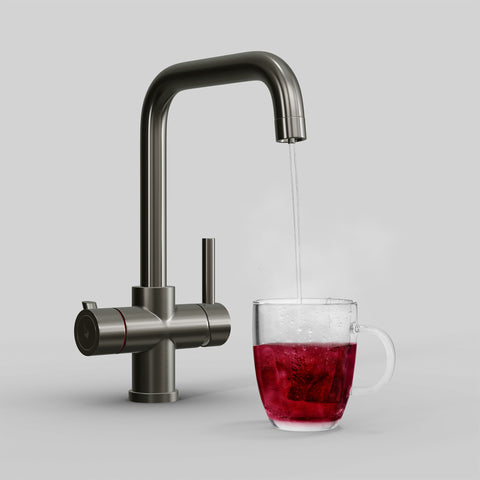 Fohen Fahrenheit Brushed Gunmetal Boiling Water Tap with Red Cup