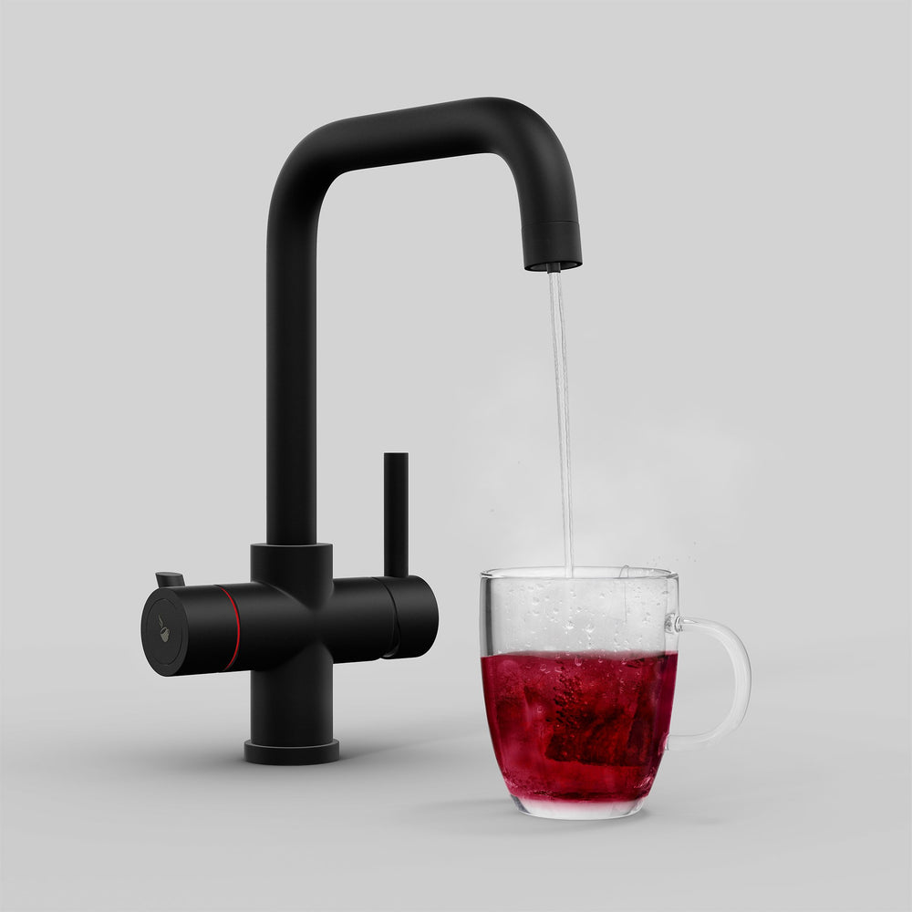 Fohen Fahrenheit Matt Black Boiling Water Tap with Red Cup
