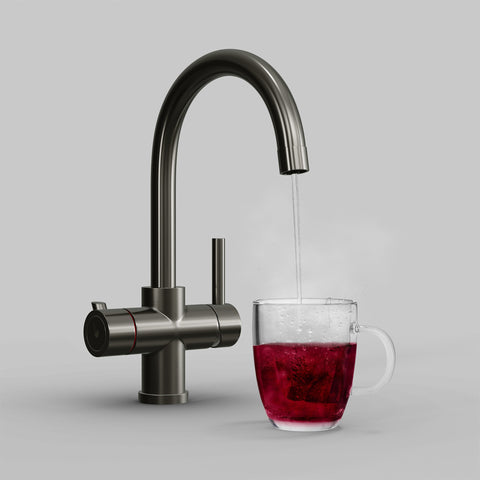Fohen Furnas Brushed Gunmetal Grey Boiling Water Tap with Red Cup