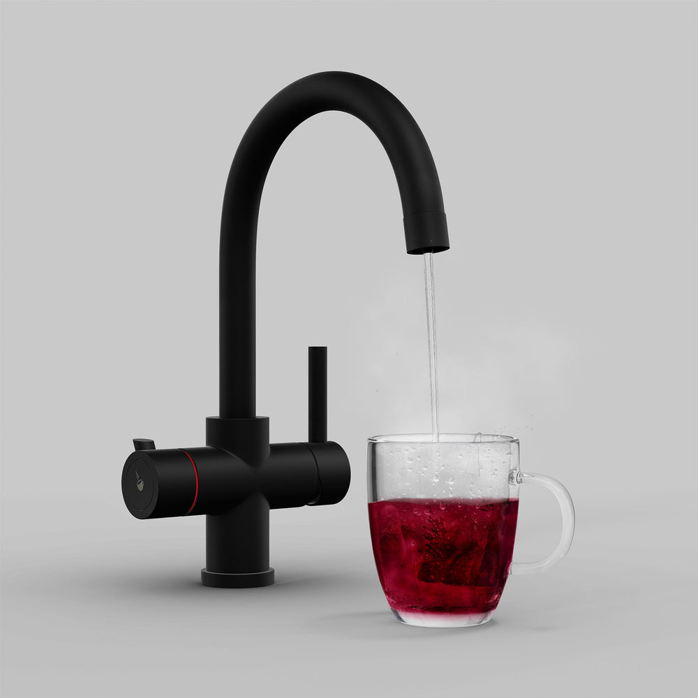 Fohen Furnas Matt Black Boiling Water Tap with Red Cup