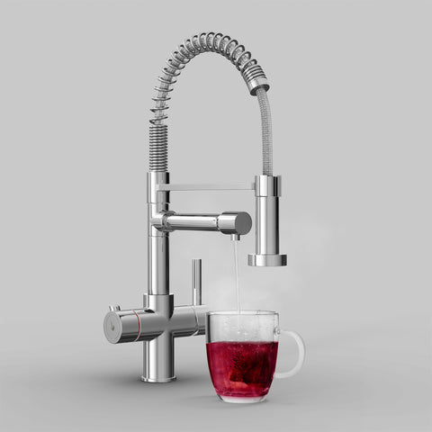 Fohen Flex Polished Chrome Boiling Water Tap with Red Cup