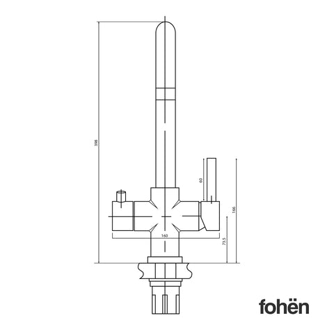 Fohen Furnas Polished Bronze Back Dimensions Line Drawing