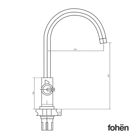 Fohen Furnas Brushed Gunmetal Grey Side Dimensions Line Drawing