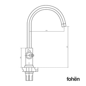 Fohen Furnas Polished Bronze Side Dimensions Line Drawing