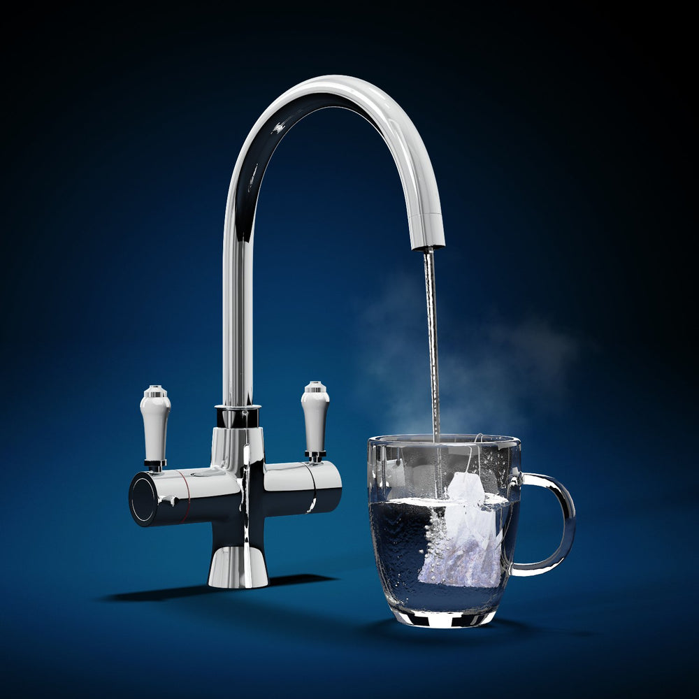 Fohen Fantale Polished Chrome Boiling Water Tap with Clear Cup