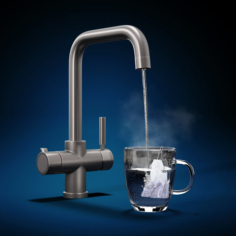 Fohen Fahrenheit Brushed Gunmetal Boiling Water Tap with Clear Cup