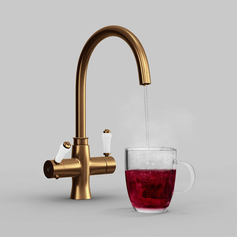 Fohen Fantale Brushed Copper Boiling Water Tap with Red Cup