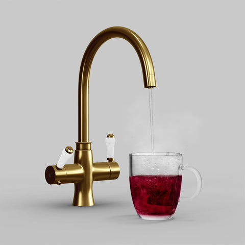 Fohen Fantale Brushed Gold Boiling Water Tap with Red Cup