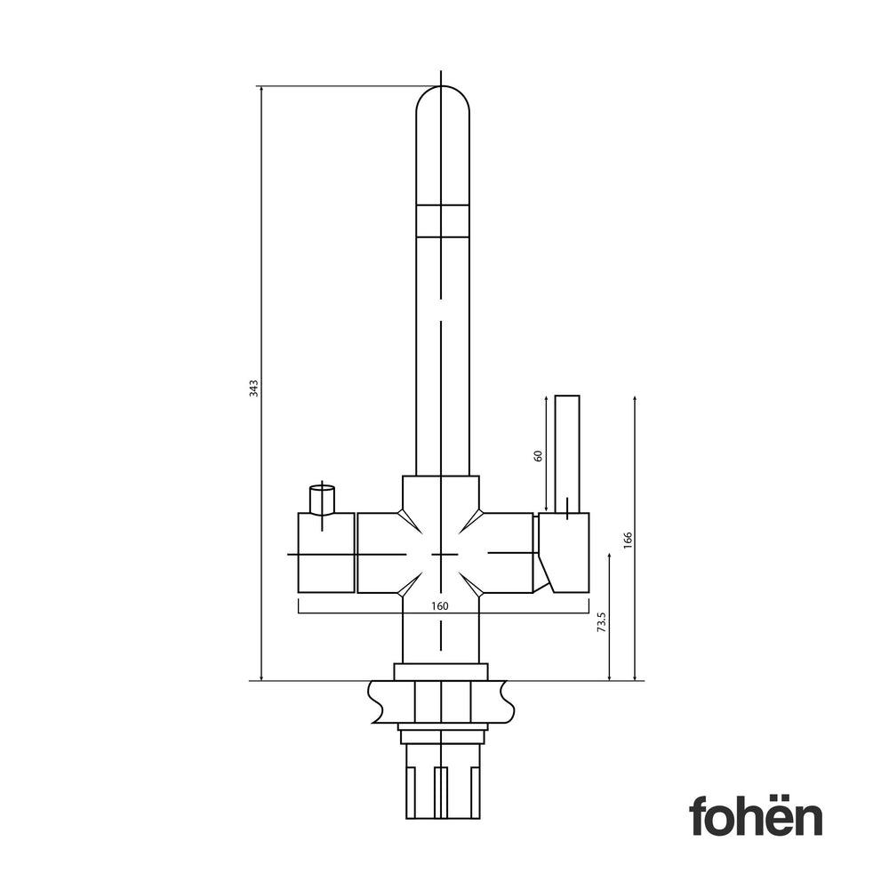 Fohen Fahrenheit Polished Chrome Back Dimensions Line Drawing