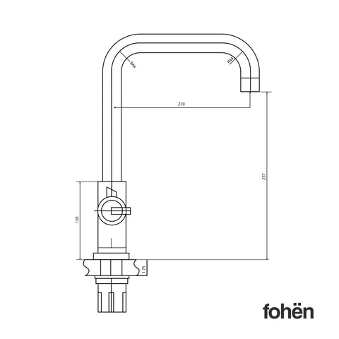 Fohen Fahrenheit Brushed Gunmetal Side Dimensions Line Drawing