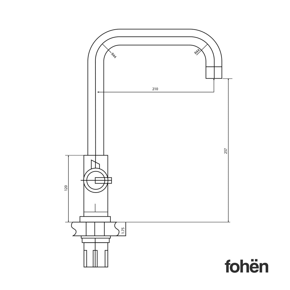 Fohen Fahrenheit Matt Black Side Dimensions Line Drawing